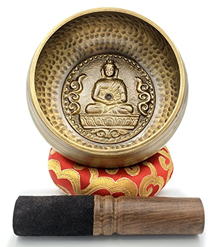 4.5' Tibetan Singing Bowl Set - Hand Hammered in Nepal and Presented by Soltune. Singing Bowls Meditation Set - Sound Bowl Meditation Set - Heart Chakra Singing Bowl, by any name has a beautiful tone.
