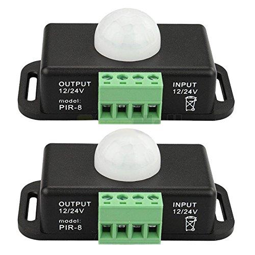 TOOGOO 2 X 12V / 24V 8A Koerper Infrarot PIR Bewegungsmelder Schalter LED Lichtleiste Automatik, Schwarz