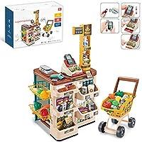 子供のおもちゃは家のスーパーマーケットの買い物のおもちゃの遊びのシミュレーションを装います子供の食料品店のプレイセットショッピングカートと幼児の男の子と女の子の遊びセットのためのスキャナーを備えた買い物食料品の遊び店 (Color : Brown)
