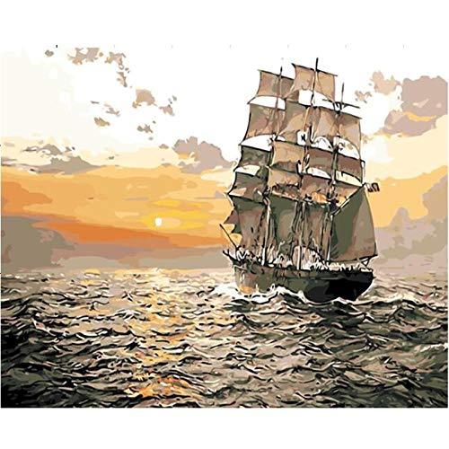 Malen Nach Zahlen Sonnenuntergang Segelboot Anfänger Hand gemalt Abstraktion Leinwand Ölgemälde Geschenk für Erwachsene Kinder Kits Home Haus Dekor 40x50cm Rahmenlos