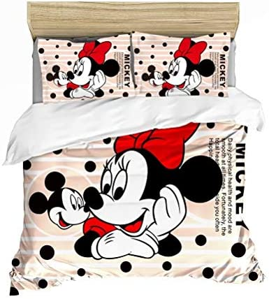 Amazon Com Mickey Minnie Mouse Kids Duvet Cover Sets 3 Pieces For Boys Girls Bed Set Super Soft Microfiber Popular Cartoon Theme Bedding Including 1duvet Cover 2pillowcases Pattern3 Queen Home Kitchen