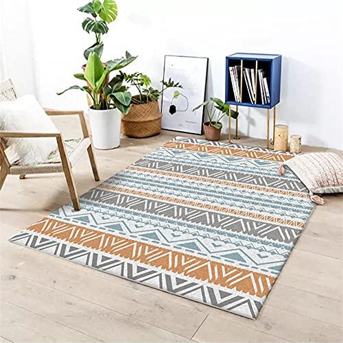 Camino de alfombra geométrico mediterráneo, alfombra de sala de estar de rayas azules y amarillas de estilo étnico, alfombra de piso de balcón de cabecera de dormitorio suave antideslizante,80*160cm