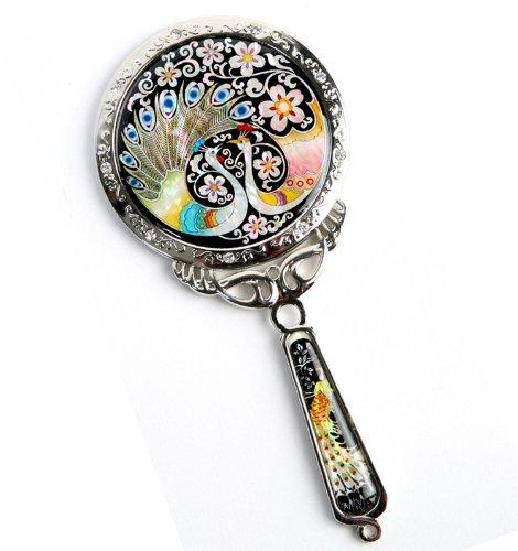 Douchette à main Miroir, un cadeau fait à la main Mother Of Pearl, Paon