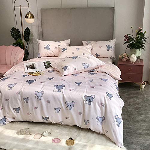 Complete Bedding Sets ,Simple four-piece double-sided silk ice silk bed four-piece set, silk can't afford the ball, machine washable 1.2m 3pc set-So much cuter_1.8m 4pc suit/quilt cover 200*230