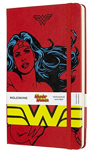 "Moleskine Limited Edition Wonder Woman Notebook, Hard Cover, Large (5"" x 8.25"") Ruled/Lined, Red, 240 Pages"