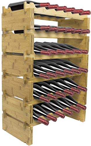 Sorbus Stackable Bamboo Wine Rack — Classic Style Wine Racks for Bottles — Perfect for Bar, Wine Cellar, Basement, Cabinet, Pantry, etc. (6-Tier)