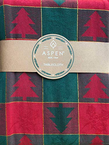 Aspen Home Fabric Tablecloth Classic Vintage Christmas Pattern with Primitive Woodblock Style Trees Jacquard Weave in Red and Green with Gold Tinsel Thread Highlights (60 Inches x 102 Inches) -  A2