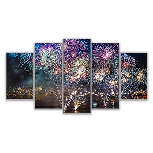 Preisvergleich Produktbild Wwjwf Leinwand Malerei Modulare Wandkunst Hd Druckt Bilder 5 Stück Feuerwerk Über Der Bucht Poster Wohnzimmer Wohnkultur-30X50 30X70 30X80Cm-Kein Rahmen