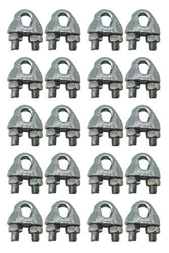 (Paquete de 20 piezas) M6 8 mm Ø Metal galvanizado DIN 741 Abrazaderas Eslingas Clip de cable Engarzado Perno en U Sujetador de sillín para cable de acero (20)