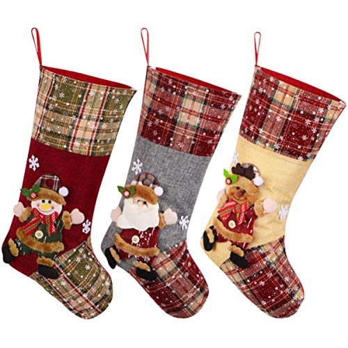 Toyvian Weihnachtsstrümpfe 15 Zoll Plüsch Plaid Santa Deer Schneemann Candy Strümpfe für Familienurlaub Saison Dekor 3-Pack