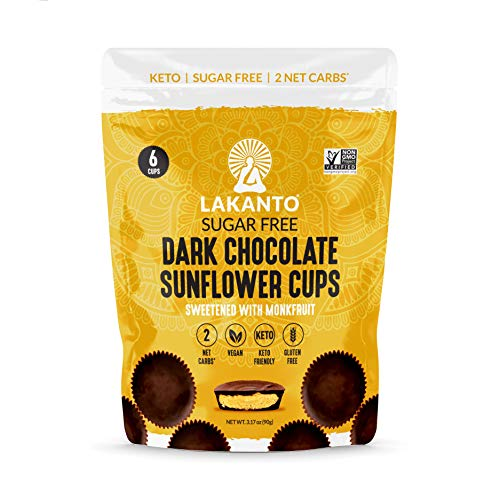 Lakanto Dark Chocolate Sunflower Butter Cups - Sweetened with Monkfruit Sweetener, On the Go, Keto Friendly, Vegan, Gluten Free, Sunflower Seeds, Cocoa Butter, Sea Salt, Nut Butter (2 Pack)