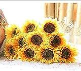 ANNIUP Ramo de Flores Artificiales de Girasol para Novia, Ramo de Flores de látex y Seda, 10 Unidades, Color Amarillo