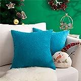 Topfinel juego 2 Hogar Algodón Lino Decorativa Almohadas Fundas de color sólido Para Sala de Estar sofás 45x45cm azul turquesa