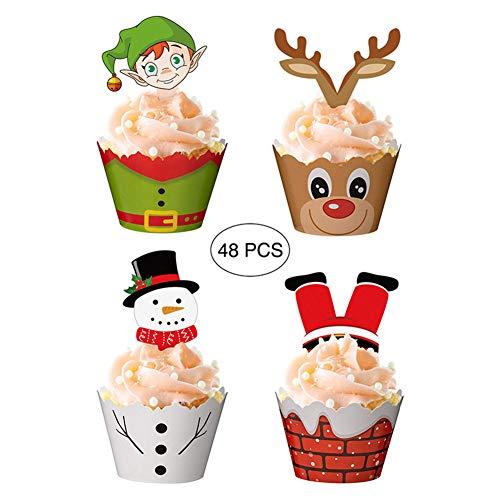 Heylas kerstpapier, cupcake-wrappers met cupcake-toppers, voor kerstfeesten, verpakking met 48 stuks, 24 wrappers en 24 toppers