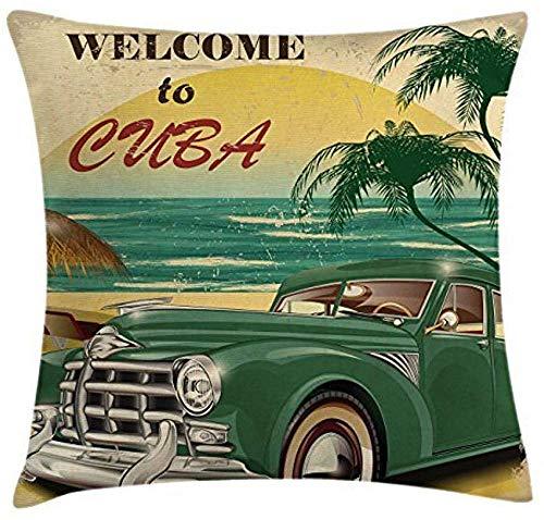 Funda de cojín divertida y duradera con diseño retro de bienvenida a Cuba con estampado artístico clásico de océano y palmas en la playa del coche, funda de almohada cuadrada decorativa, 18 x 18 pulgadas, color verde crema y amarillo