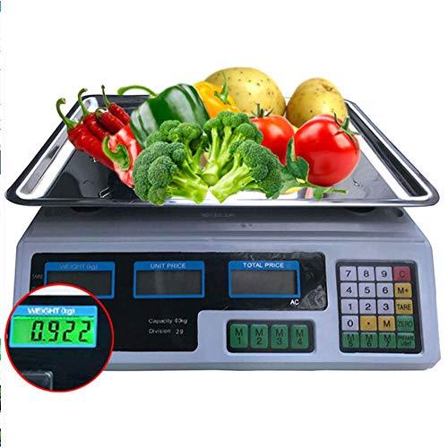 LLSS Pesaje Digital 40Kg Pesaje Digital de Frutas Computing Escala de Precios electrónica para el hogar/Tienda, Verde