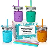 Kids & Toddler Cups with Straw - 4 Pack Spill Proof 8 OZ Glass Mason Jars Snack Smoothie Cups with Sleeve +4 Leak Proof Lid +8 Silicone Straw with Stopper, BPA FREE Christmas Baby Tumbler Drinking Cup