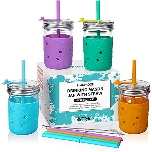 Kids & Toddler Cups with Straw - 4 Pack Spill Proof 8 OZ Glass Mason Jars Snack Smoothie Cups with Sleeve +4 Leak Proof Lid +8 Silicone Straw with Stopper, BPA FREE Baby Tumbler Sippy Cup for Drinking
