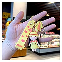 キーチェーン バブル吹いている女の子かわいい漫画シリコーンPVC柔らかいゴム人形車のキーホルダーペンダントバッグペンダントキーホルダー (Color : Silver)