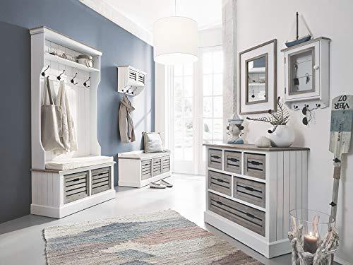 massivum Russel Flur Set 6-teilig weiß, Holz, 40 x 92 x 189 cm