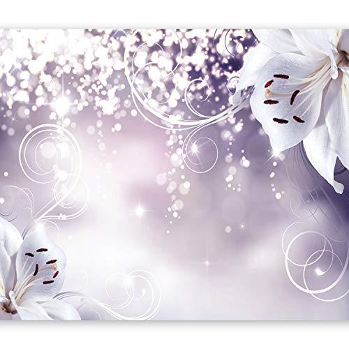 murando Fototapete Blumen 350x256 cm Vlies Tapeten Wandtapete XXL Moderne Wanddeko Design Wand Dekoration Wohnzimmer Schlafzimmer Büro Flur Lilien Lila Abstrakt Ornament Bokeh b-A-0012-a-d