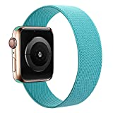 MAMEGO Elastic Bands Compatible with Apple Watch Band 38mm 40mm 42mm 44mm,Women Men Scrunchies Stretchy Solo Loop Sport Soft Nylon Wristband for iWatch Series SE/6/5/4/3/2/1(Light Blue,L)