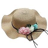 HLIYY Fleur Chapeau Respirant Chapeau De Paille Soleil Chapeau Enfants Chapeau Filles Chapeau de Paille Tissée Décoration Florale Protection UV Chapeau de Plage