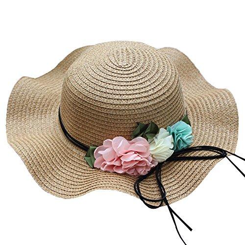 Mamum Chapeaux de Fleur de Filles de bébé d'été, Chapeau Respirant de Chapeau de Soleil de Chapeau de Paille d'enfants (Khaki)