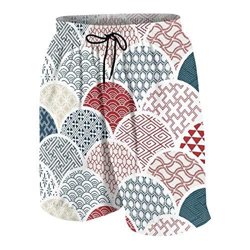 MAYBELOST Pantalones Cortos de Playa para Hombre,Dibujo de Kimono geométrico Tradicional japonés,Trajes de baño de Secado rápido Trajes de baño con Forro de Malla y Bolsillos