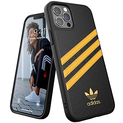 adidas Funda diseñada para iPhone 12 / iPhone 12 Pro 6.1, Fundas a Prueba de caídas, Bordes elevados, Carcasa Original Moldeada, Color Negro y Dorado