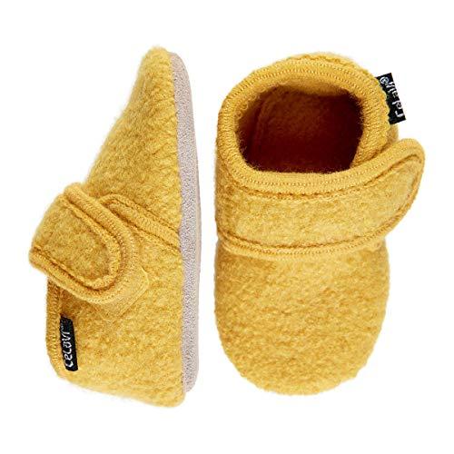 Celavi Unisex Baby Wool Shoe Hausschuh, Gelb, 17 EU