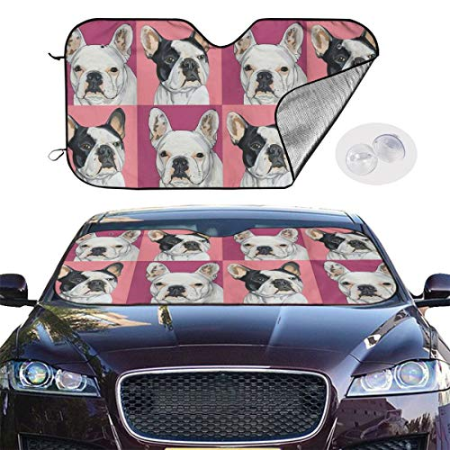 AINGLOTAS Dogs with Various Expressions Auto Windwhield Sun Shades Universal Fit 51.2 X 27.6 Inch Window Keep Your Vehicle Cool Visor for Car Truck SUV Sunshade Cover,Windwhield Sun Shades