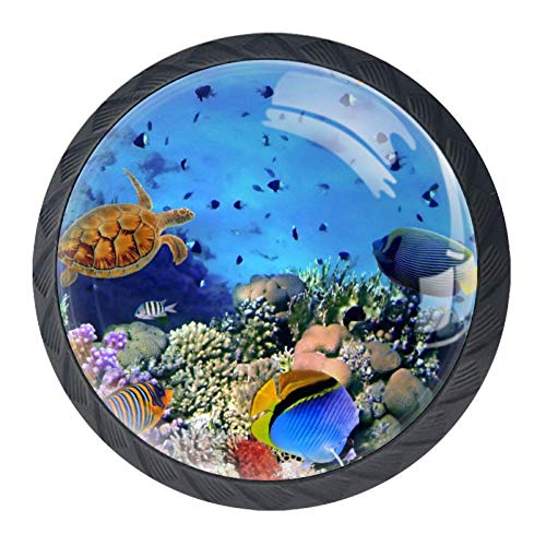 DEYYA Colorful Tropical Fish Ocean Diving Bubbles Crystal Glass Cabinet Door Knobs Pulls Handles Ergonomics Drawer Handles 4pcs