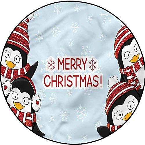Christmas Anti-Static Rug Easy-Care Indoor/Outdoor Area Rug Cute Penguins Kids Diameter 63.3 in(161cm)