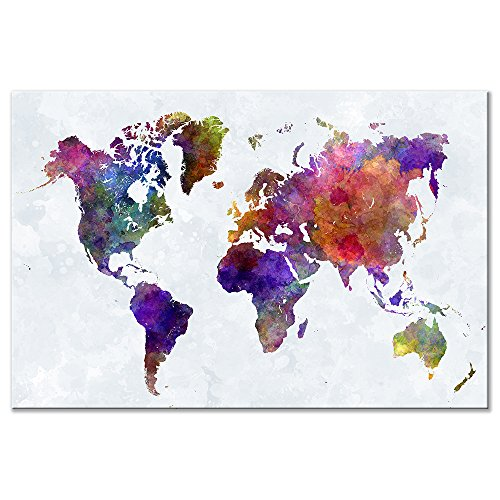 Wieco Art Old Colorful World Map Extra Large Modern Gallery Wrapped Giclee Canvas Prints Artwork Abstract Landscape Pictures Paintings on Canvas Wall Art for Living Room Home Office Decorations XL
