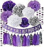 Purple Silver Party Decorations Tissue Pom Pom Happy Birthday Banner Purple Silver Circle Paper Garland for Birthday Party Decorations/Purple Silver First Birthday Party Supplies/Sweet 16 Party