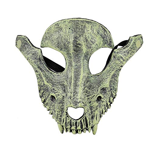 XWYWP Mscara de Halloween Da de los Muertos Fiesta de Halloween Mascarada espeluznante terror terror disfraz de cabra crneo mscara gris