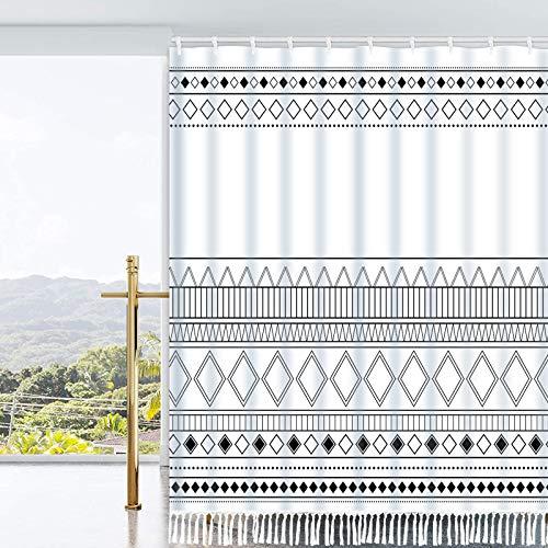 "Ikfashoni Boho Tassel Shower Curtain Black and White Shower Curtain with 12 Hooks, Geometric Aztec Bathroom Shower Curtains, Fabric Tribal Shower Curtain for Bathroom, 69"" x 70"""