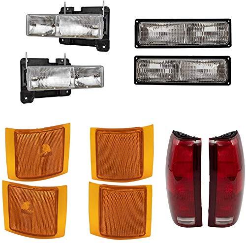 FIT FOR GMC YUKON 1994 1995 1996 1997 1998 1999 HEADLIGHT & SIGNAL & SIDE MARKER & TAIL LAMP RIGHT & LEFT SET (= 1994-1998 GMC C1500 PICK UP TRUCK, 1994-1999 GMC SUBURBAN)