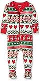 Hatley Organic Cotton Footed Sleepsuit Pijama, Blanco (Mistletoe Deer 100), 3-6 Meses (Talla del Fabricante: 3M-6M) para Bebés