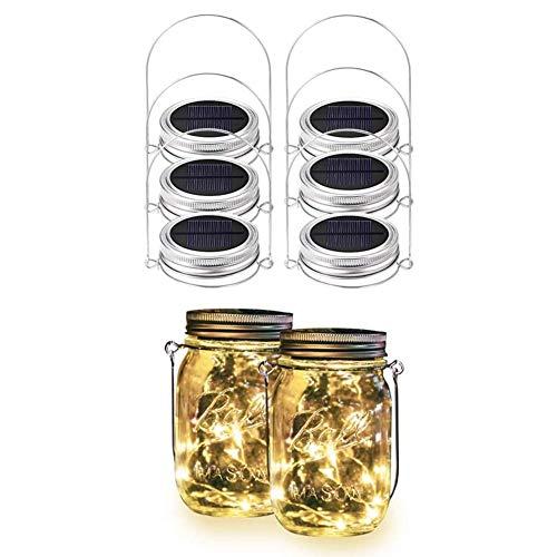 SASKATE - Luci solari con coperchio in vetro, confezione da 6, 20 luci LED impermeabili per giardino, cortile, matrimoni, feste, bar, luci natalizie (vasetti non inclusi, bianco caldo)
