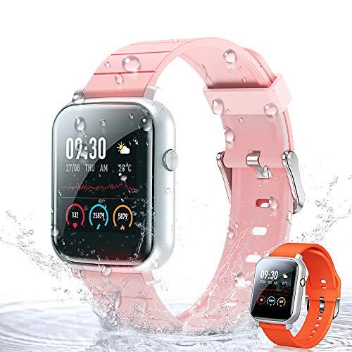 Smartwatch Orologio Fitness Tracker Uomo Donna, WOEOA Bluetooth Smart Watch Cardiofrequenzimetro da Polso Schermo Colori Impermeabile IP68 Orologio Sportivo Calorie Activity Tracker per Android iOS