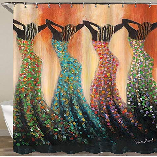 CANCAKA Shower Curtain,Dance of The Summer Solstice Teenage Girls Wearing Sexy Long Dresses, Polyester Fabric Waterproof Bath Curtains Hooks Included - 72 x 72 inches