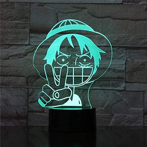 Lamp Anime One Piece Monkey D Luffy Illusion LED Luz de Luz Luz Lámpara Lámpara Táctil Lámpara Remoto Control Remoto USB Decoración Decoración Regalos 16 Color
