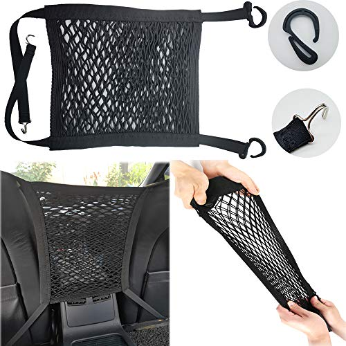 2-Layer Full Stretch car mesh Storage net MAX 21''x20 '' Rear seat Cargo mesh Bag Tissue Towel Purse Holder Luggage pet Child Barrier Extended Length for All Types of Vehicles Such as SUV Pickups
