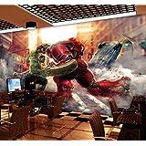 カスタム漫画3dマーベルヒーローリーグアニメハルク壁画寝室壁紙アイアンマン壁紙ホテルテーマボックス装飾絵画 幅 200cm * 高さ100cm A