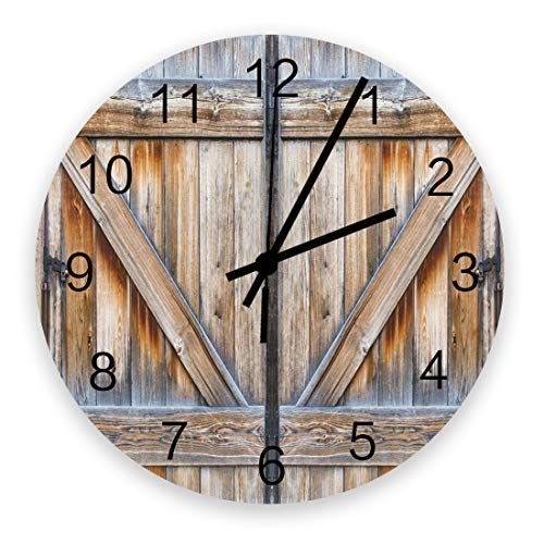 Savannan Wooden Wall Clock 12', Countryside Farm Retro Wooden Door of Barn Round Silent Non-Ticking Battery Operated Wall Decor Clock for Living Room Kitchen Dining Room