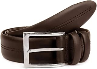 Dents Men's Double Keeper Leather Belt with Stitch Detail