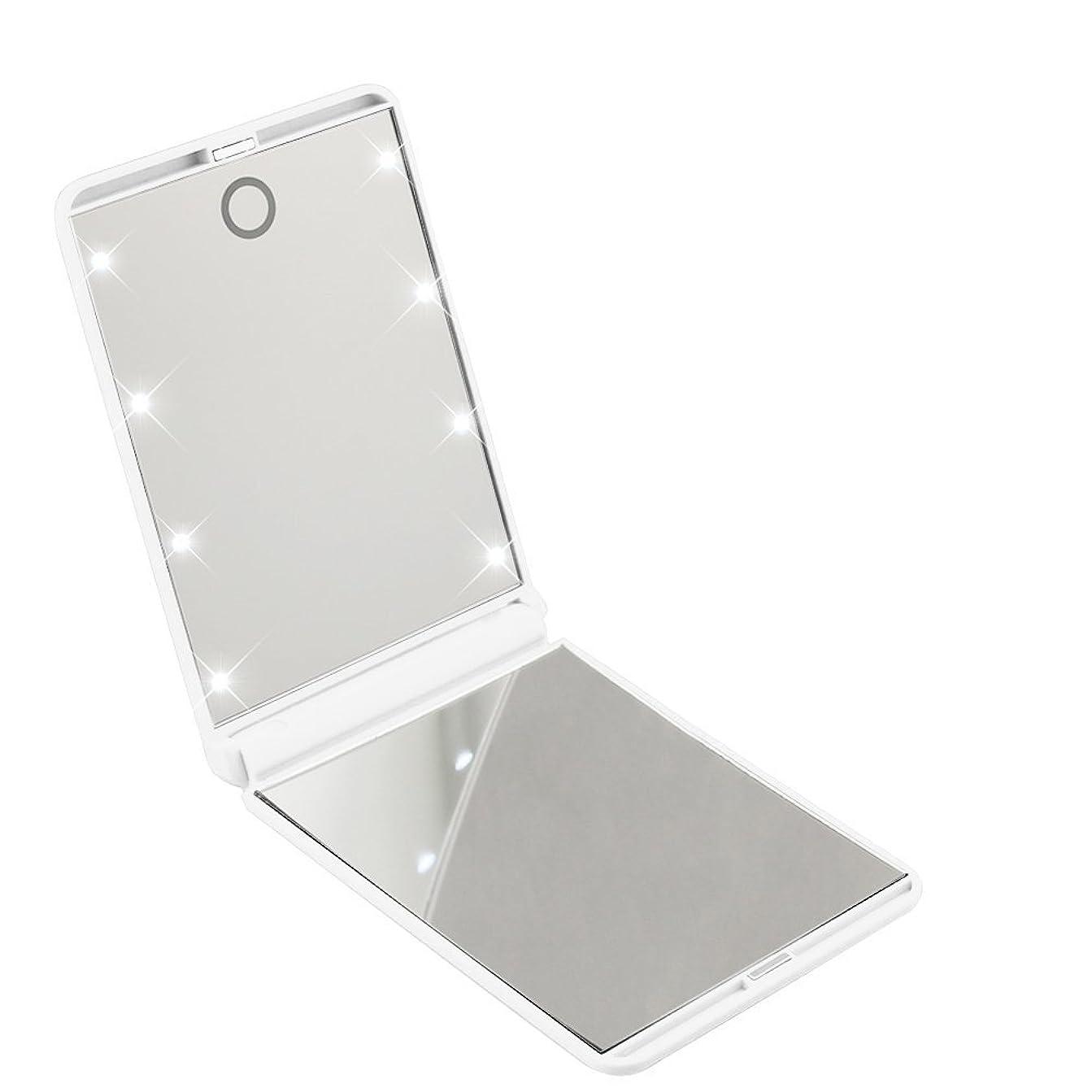 体現するロードされた契約したled化粧鏡 二面鏡 折りたたみ式 LEDライト メイクミラー 明るさ調整 コンパクトミラー 2倍拡大鏡付 ホワイト