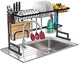 Sorbus - Soporte para secar platos sobre el fregadero, rejilla, estante de drenaje con ganchos para utensilios de cocina, organizador de almacenamiento para platos, utensilios, etc, Negro, 1